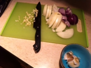 Prep the onions and garlic
