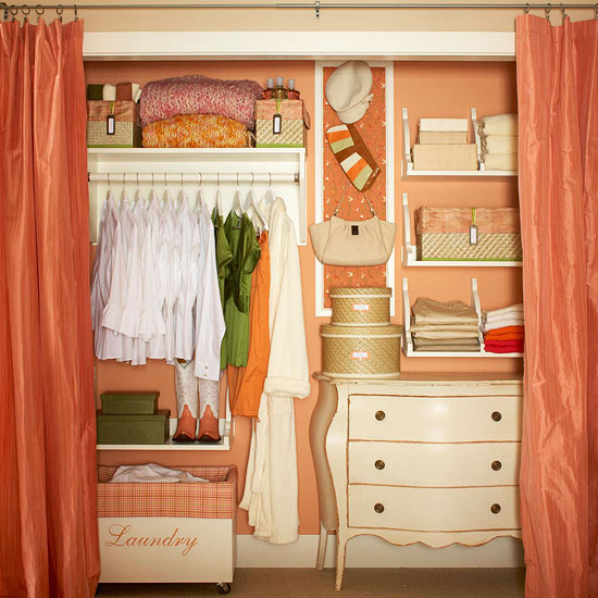 I love this idea from Better Homes & Gardens to put a dresser in the closet if your bedroom is small.
