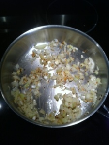 saute onions and red pepper flakes