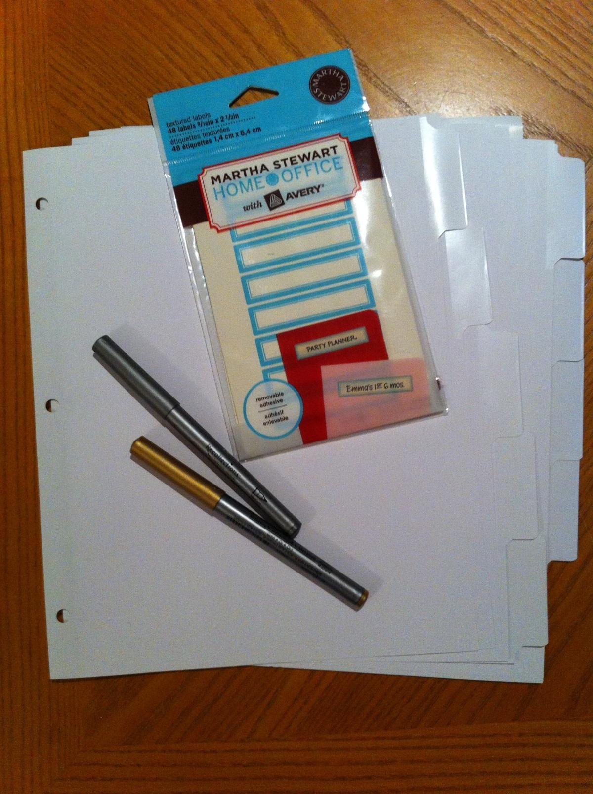 divider tabs, labels, pens