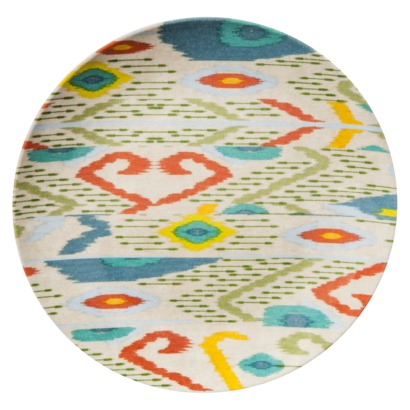 I absolutely one these small melamine appetizer plates from Target--they really add a does of color to your patio table. And they're so affordable! $9.49 for a set of 4..hard to beat!