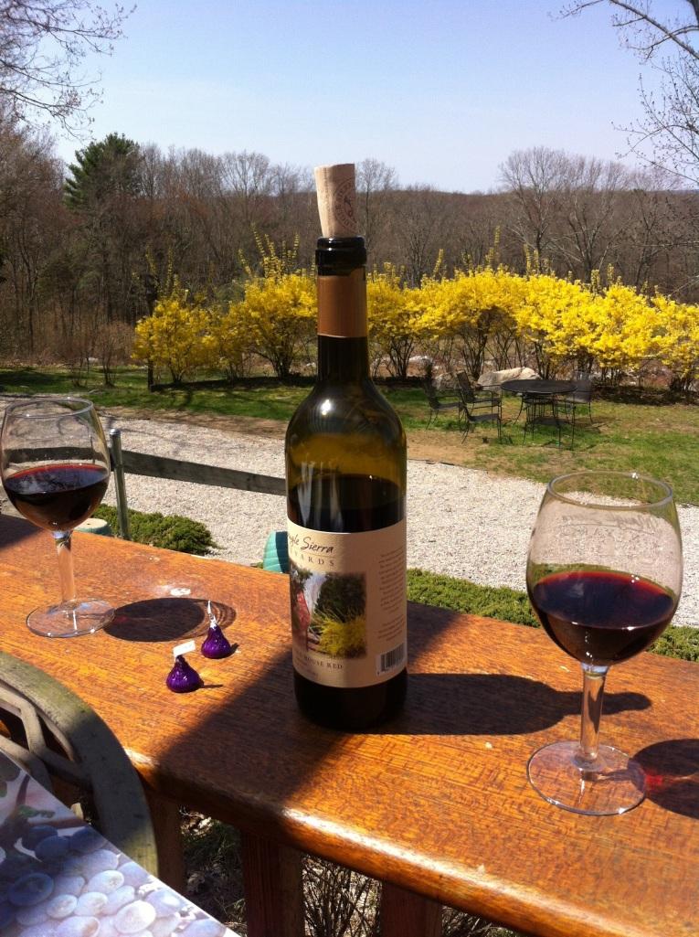 Enjoying some wine at Maugle Sierra Vineyard