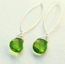 Bright Peridot Sterling Silver Marquis Earrings from Etsy ($44)