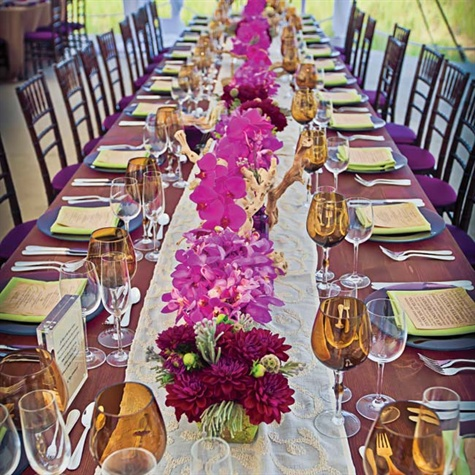 Source: The Knot - bright wedding centerpieces of dahlias and orchids