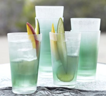A set of 4 of this stylish sea glass drinkware from Pottery Barn is $28.