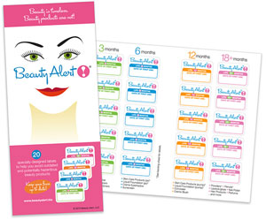 Cosmetic stickers with shelf life and date of first use