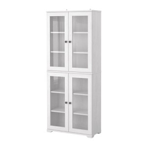 White book shelf with glass doors