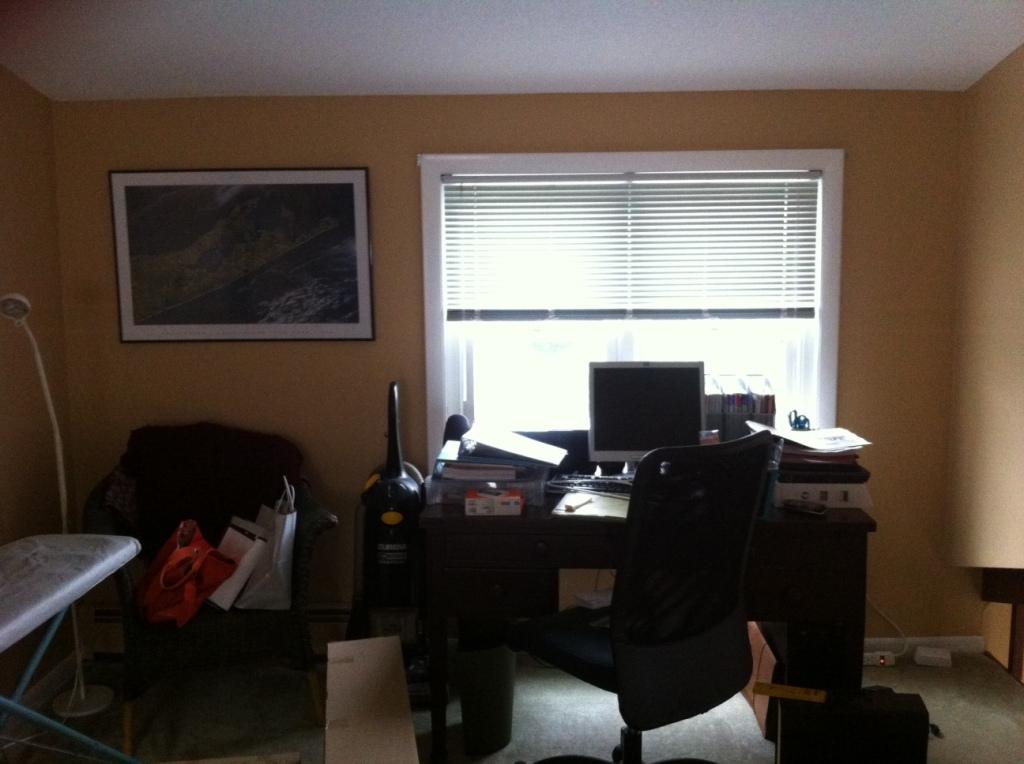UGLY disorganized old office / ironing area